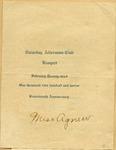 Seventeenth Annual Saturday Afternoon Club Banquet Program