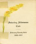 Annual Saturday Afternoon Club Banquet Program