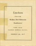 Luncheon for the Golden Belt Editorial Conference of Fort Hays Kansas Normal School Program