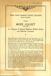 Miss Juliet Comedies Show of Fort Hays Kansas State College Program