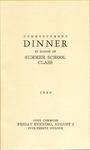 Commencement Dinner in Honor of Summer School Class Program