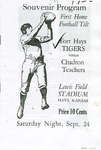 Souvenir Program First Home Football Tilt Fort Hays Tigers vs. Chadron Teachers