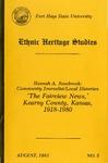 Hannah A. Rosebrook: Community Journalist/Local Historian 'The Fairview News,' Kearny County, Kansas, 1918 - 1980