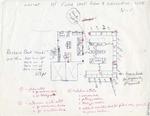 Hand drawn floor plan - 1st Floor Work Room & Circulation Desk