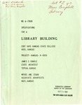 Specifications for a Library Building Fort Hays Kansas State College