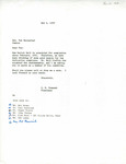 Rarick Hall: Letter, to Pat Baconrind, from Gerald W. Tomanek, May 6, 1980
