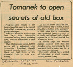 Rarick Hall: Newspaper, Tomanek to open secrets of old box