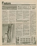 Sheridan Hall: Newspaper, Sheridan - renovation to be done before February 1991 by Rebecca Oborny