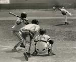 Baseball Player at Bat and Pitcher Throwing Baseball