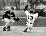 Fort Hays State University Baseball Player Brian Keck at Base