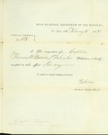 Acceptance of Captain Thomas Bowen's resignation from the 1st Nebraska Volunteers by John Cunningham Kelton 1828-1893