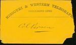Telegram and envelope for Col. Bowen by Norton Parker Chipman 1836-1924