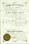 Record of license permitting Thomas Bowen to practice law in the Territory of Colorado