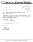 Tomanek Hall: Memorandum, to the Kansas Board of Regents, from Stanley Z. Koplik, Executive Director
