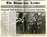 Tomanek Hall: Newspaper, Tomanek Hall dedicated at ceremony Saturday, August 29, 1995