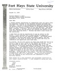 Tomanek Hall: Letter, to Senator Bob Dole, from President Edward Hammond, August 23, 1990