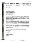 Tomanek Hall: Letter, to Governor Joan Finney, from President Edward Hammond, April 6, 1992