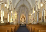 Nave and sanctuary of the St. Catherine Catholic Church by Mitch Weber